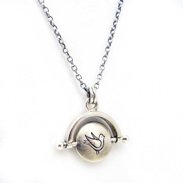 bird and cage pendant silvene