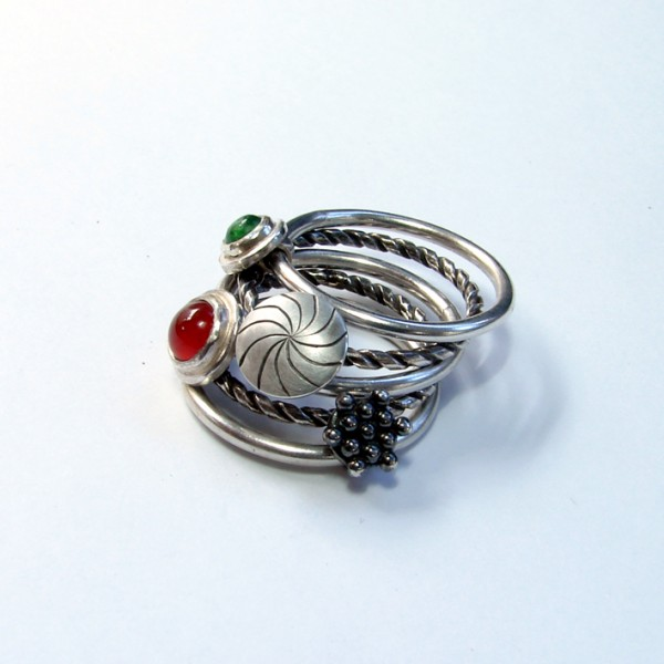playful wide handmade silver ring