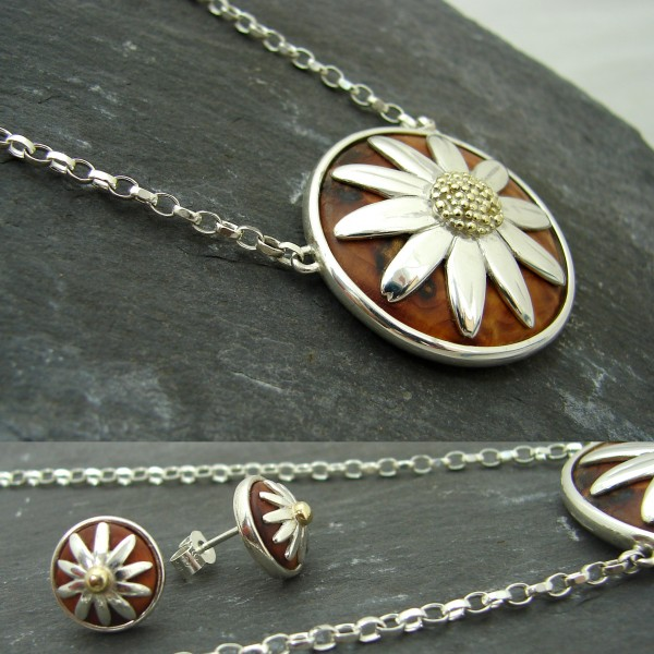 silver gold exotic wood daisy