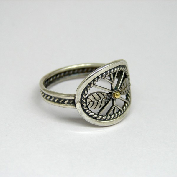 snowflake silver gold ring