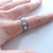 eye ring, handmade in silver and gold