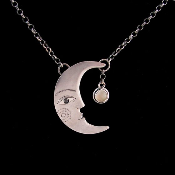 moon profile pendant handmade in silver