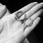 men geometric band ring silver white gold