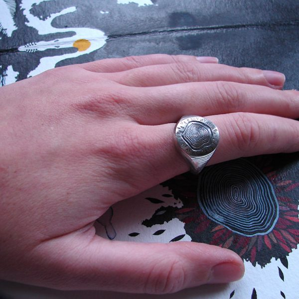 engraved signet ring , tree silver ring