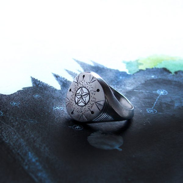 hand engraved modern signet ring