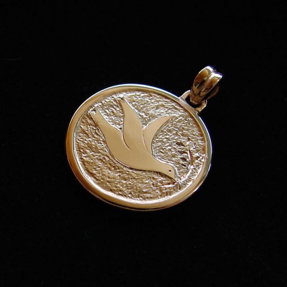 Dove christening medal