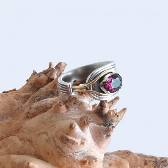 spinel silver and gold ring