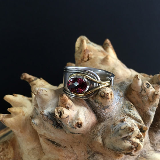 garnet spoon ring
