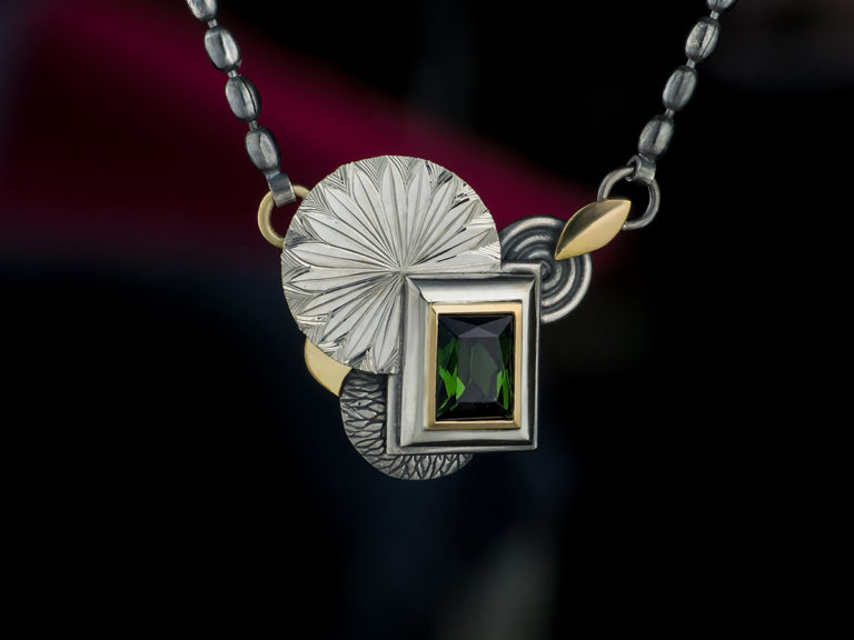 tourmaline pendant in silver and gold