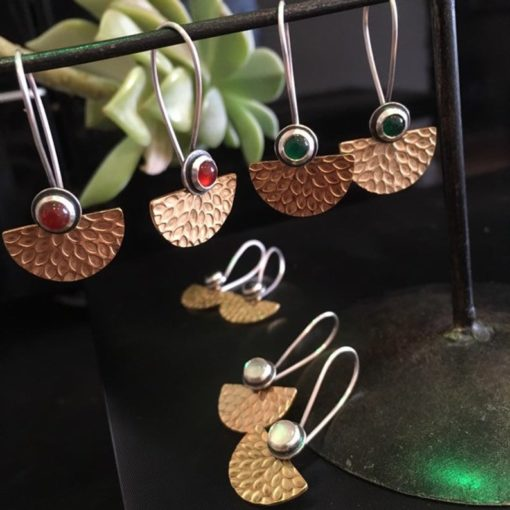 Fan earrings gold lated silver