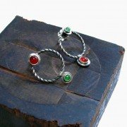 elegant bicolor silver and gemstone earrings
