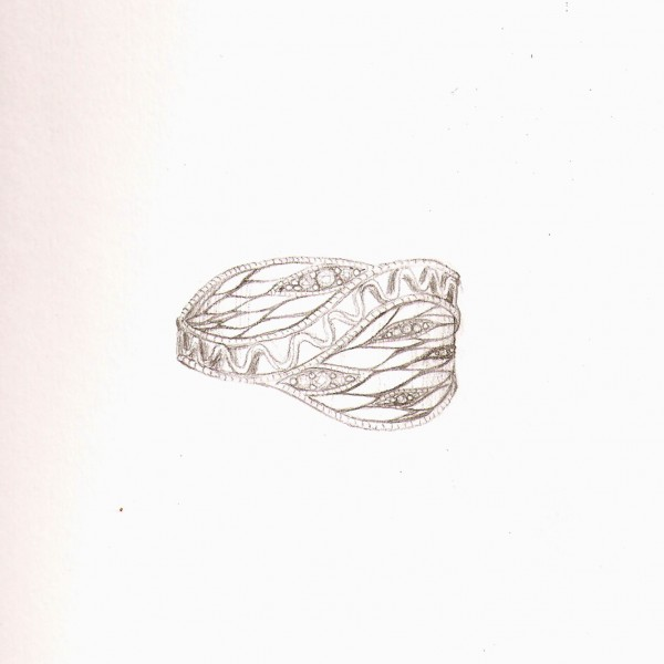 paladium and diamonds leaves ring