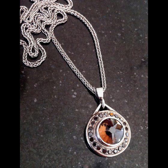 quartz and black diamond palladium pendant
