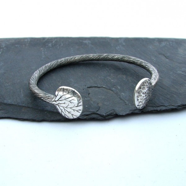tree trunk silver bangle