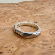 silver ring for men facets geometric rock