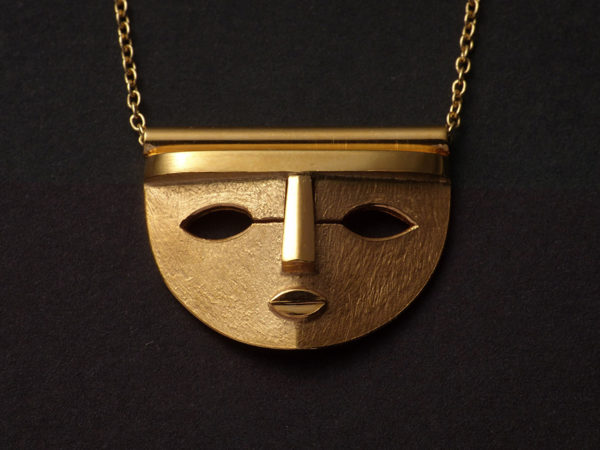 gold wide mask pendant